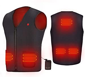 AIPER USB Heated Vest Electric Body Warmer Heating Pad for Men and Women Hiking, Hunting, Motorcycle, Camping Powered by Rechargeable Power Bank Battery(Battery Included)