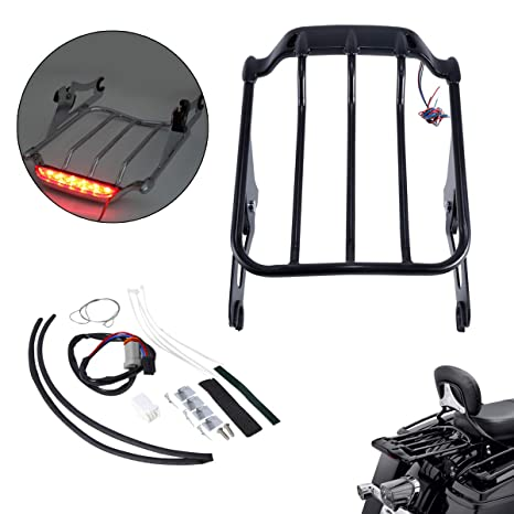 XMT-MOTO Chrome Air Wing Tour Pak Luggage Rack w// LED Light For Harley Touring 2014 2015 2016 2017
