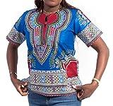Afrihili Brand Unisex Dashiki Shirt Blue Color - Traditional African Print Ankara Shirt (Medium)