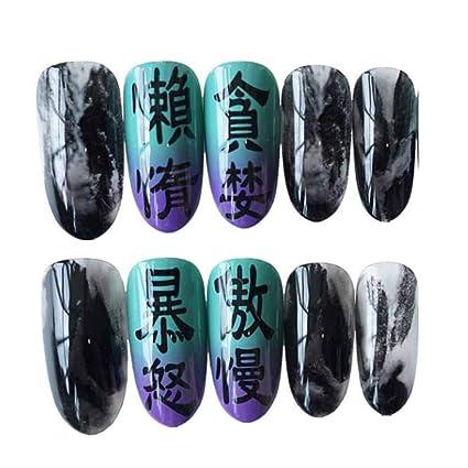 Celos - Púrpura/Negro Sharp False Fingernails Artificial False Nails Tips Dark