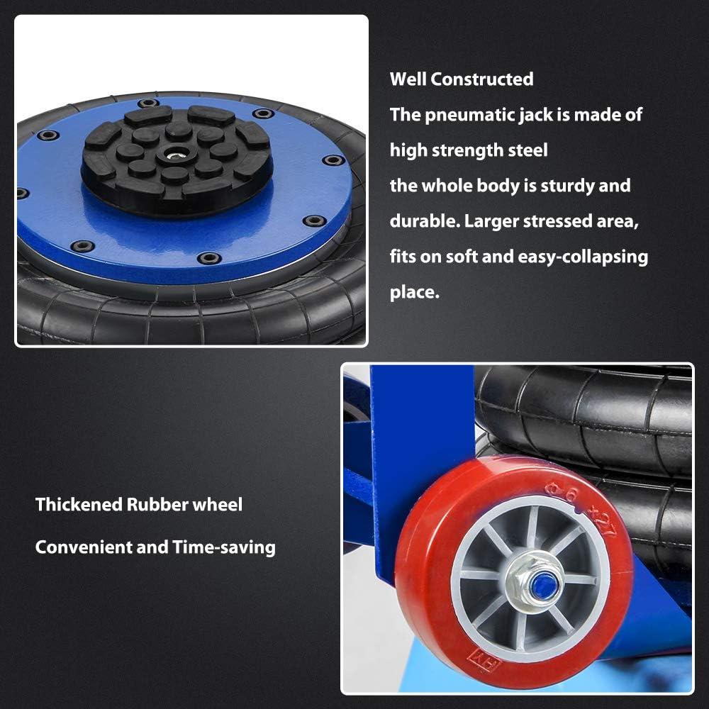 3 Tonnen Berkalash Pneumatischer Wagenheber aufblasbarer Wagenheber 4500 kg Kapazit/ät Hubh/öhe 400 mm dreifacher Beutel