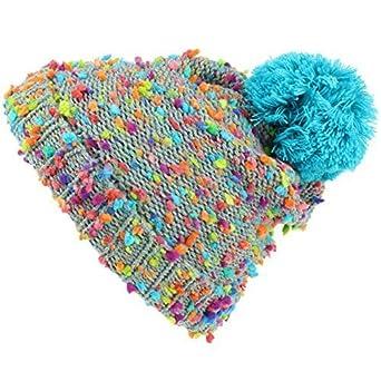 de37c3b40912a9 Hawkins Children's Grey Beanie Bobble Hat with Rainbow Fleck - Blue Bobble:  Amazon.co.uk: Clothing