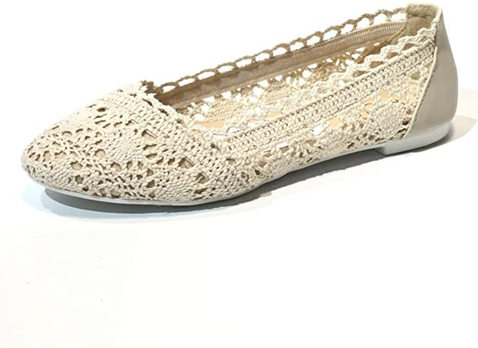 Ladies Lace Ballerina Flat Shoes White
