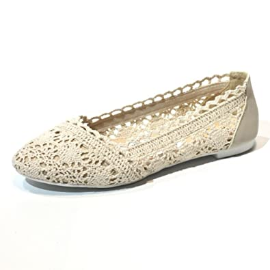 Ladies Lace Ballerina Flat Shoes White Navy Blue Ballet Flats ...