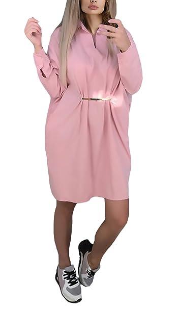 b616085678422 Vestidos Mujer Cortos Casual Manga Larga V Cuello Suelto Sencillos Color  Solido Vintage Elegantes Otoño Invierno Vestido Casual Vestidos Camiseros  Camisas ...