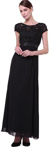 Meier Women's Short Sleeve Embroidery Rhinestoned Mother of Bride Evening Dress