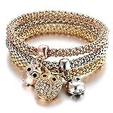 Winter's Secret 3 Colors Suit Hollow Engraving Flower Popcorn Pendant Diamond Accented Bracelet