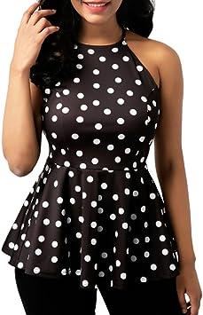 Camisas Sexy Mujer, Blusa Mujer Fiesta Elegante Gasa Moda Mujer O-Cuello Casual Punto de impresión Blusa de Gasa con Volantes Tops Camisa Chaleco Camisetas sin Mangas: Amazon.es: Deportes y aire libre