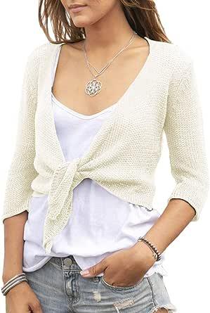 YeMgSiP Women's Bolero Tie Front Shrug Cardigan Cropped 3/4 Sleeve Open Sweaters Small Fragrance Short Shawl