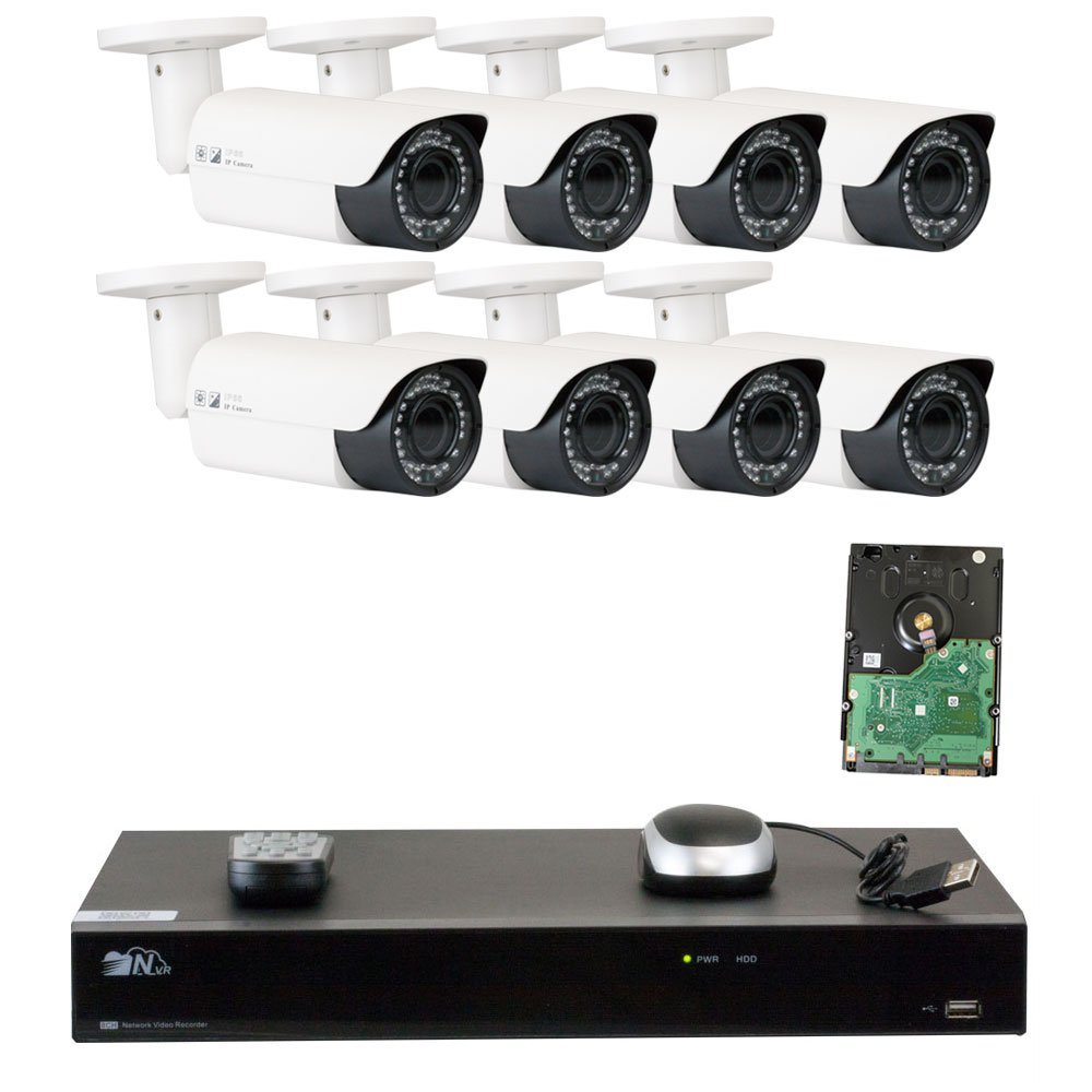 GW 8 Channel H.265 4K NVR 5-Megapixel 2592 x 1520 4X Optical Zoom Network Video Security System, 8pcs 5MP 1920p 2.8-12mm Motorized Zoom POE Weatherproof Bullet IP Cameras, 120ft Night Vision