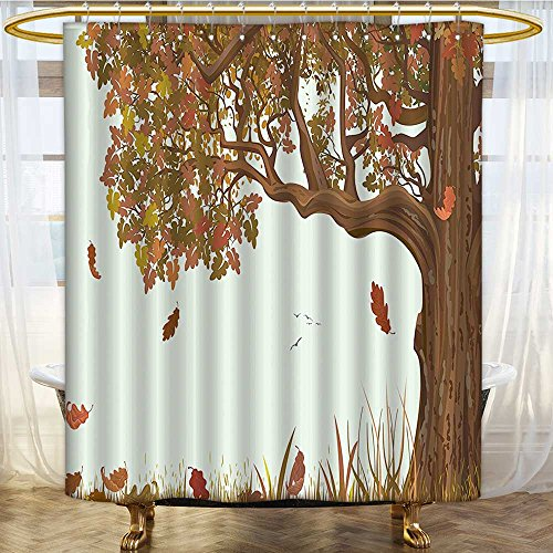 AmaPark Fabric Shower Curtain Season Fall Shady Deciduous Oak Leaves in Park Umber Redwood Mold/Mildew Resistant 54 x 78 inches - Savona Iron