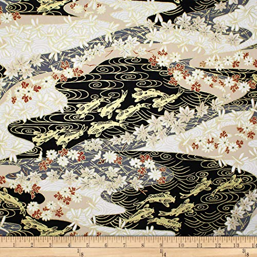 Trans-Pacific Textiles Asian Koi Dragonfly w/Metallic Black Fabric Fabric by the Yard