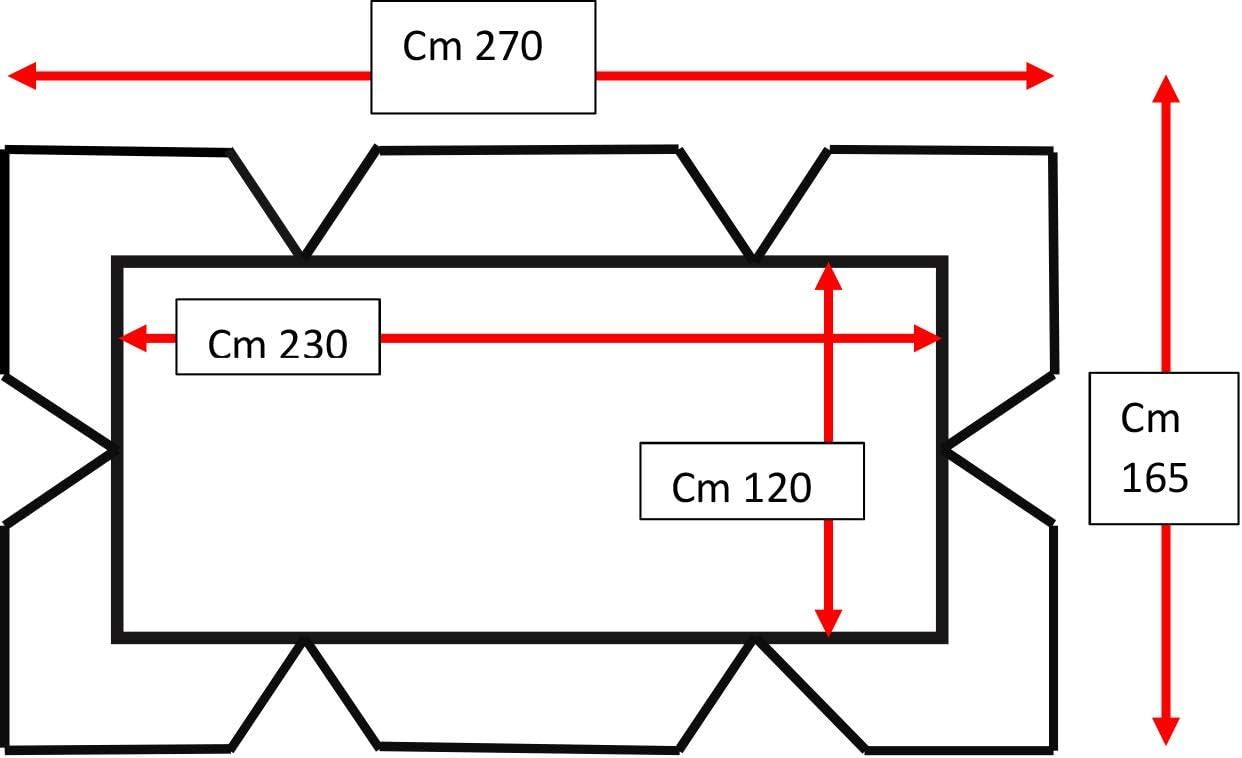 Beige Tetto Dondolo 4 POSTI Cotone Panama CM 270X165 COMPRESO di Balze