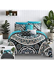 Chic Home Mornington 10 Piece Reversible Comforter Bed in a Bag Large Scale Paisley Print Contemporary Geometric Pattern Bedding with Sheet Set Decorative Pillows Shams Included