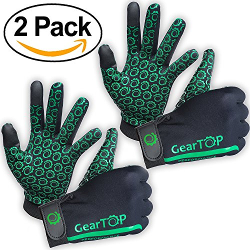 Touch Screen Gloves Bundle - Great for Running Rugby Football Walking (Green, 2 Pack - Large)