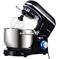 Aucma Stand Mixer,6.5-QT 660W 6-Speed Tilt-Head Food Mixer, Kitchen Electric Mixer with Dough Hook, Wire Whip & Beater (6.5QT, Black)
