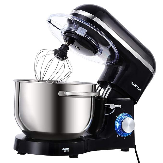 Aucma Stand Mixer,6.5-QT 660W 6-Speed Tilt-Head Food Mixer, Kitchen Electric Mixer with Dough Hook, Wire Whip & Beater (6.5QT, Black)