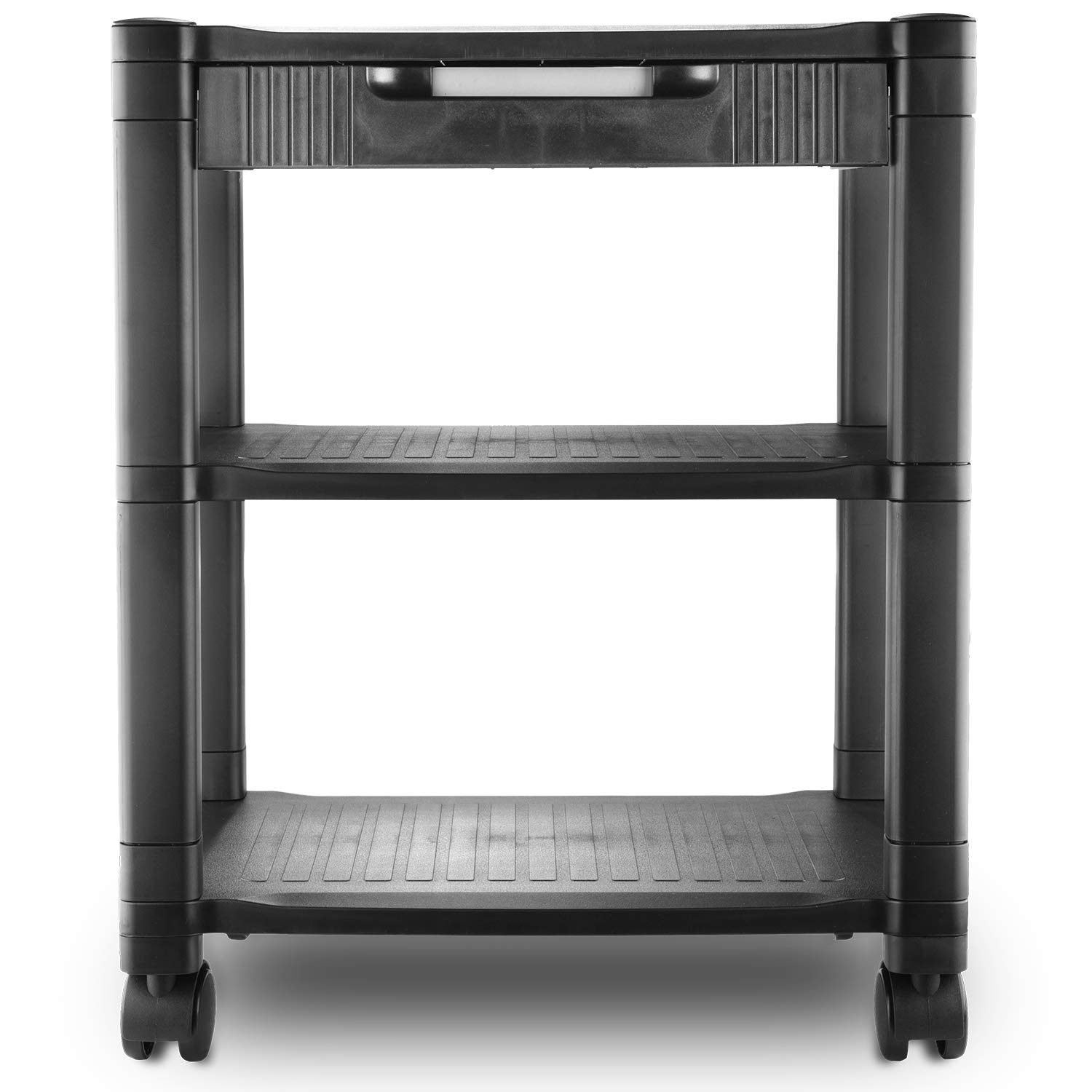 Circuit City PS3T 3 Shelf Wheeled Rolling Printer Cart Machine Stand with Built-in Storage and Cable Management - Holds Up to 75 Pounds (Black) by Circuit City