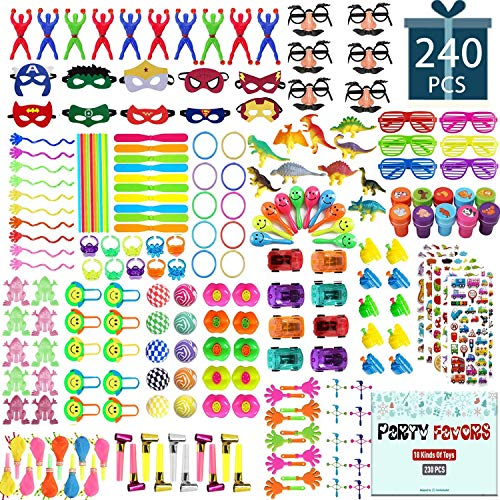 Party Favors for Kids Toy Assortment Set,Include 240PCS Carnival Prizes and School Classroom Rewards,Pinata Filler Toys for Kids Birthday Party,Bulk Toys Treasure Box for Boys and Girls