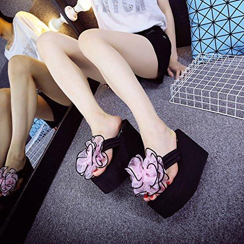 SCLOTHS Chanclas para mujer Tacón Alto flip flops inferior grueso pellizco pajarita Pendiente seaside Pink E