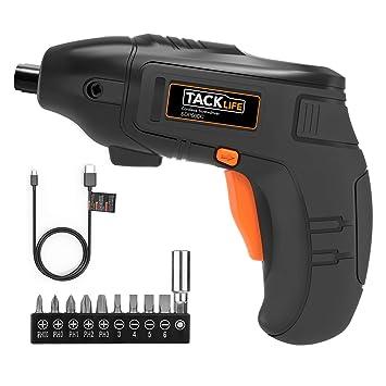 Atornillador Electrico TACKLIFE SDP60DC, Destornillador Bateria de Litio 1500mAh con Luz de LED, 10 PCS Gratis, 3.6V Carga MINI USB, Para el Montaje ...