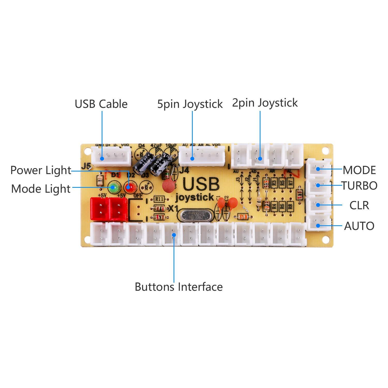 Hikig Kit de máquina de Juego DIY Arcade, 1x 2pin joystcik + 1x codificador USB + 10x 30mm 24mm botón de la arcada para Juegos de pc mame Jamma y Raspberry ...