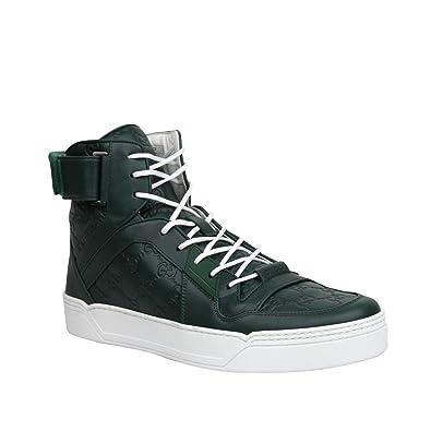836ddcc0cc4 Amazon.com  Gucci Men s Guccissima Dark Green Leather Hi Top ...