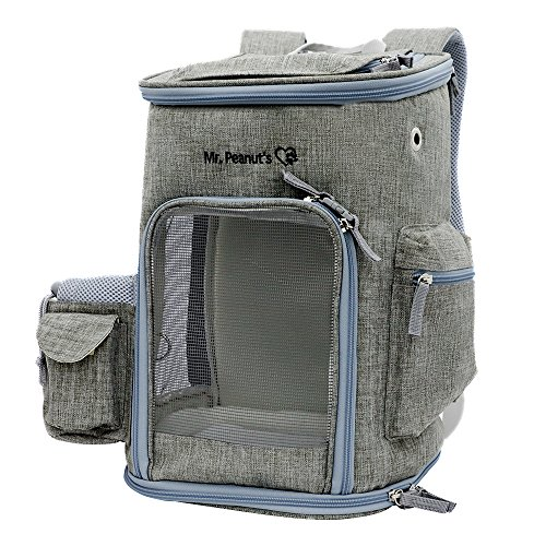 - Mr. Peanut's Backpack Pet Carrier, Soft Sided Tote for Smaller Cats & Dogs, Check Sizing Before Purchase, Premium Zippers, Locking Clasps & Fleece Padding (Platinum Gray)