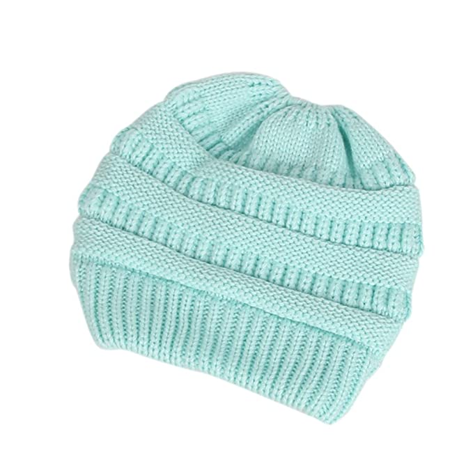Amazon.com  Redriver Womens Ponytail Cap Warm Beanie Knitted Hat Messy High  Bun Ponytail Beanie Hat (Blue)  Home   Kitchen 273900fefe52