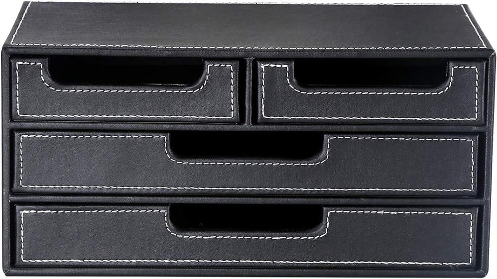 Bo/îte de rangement multifonction Kingfom en similicuir avec structure en bois Noir avec tiroir.