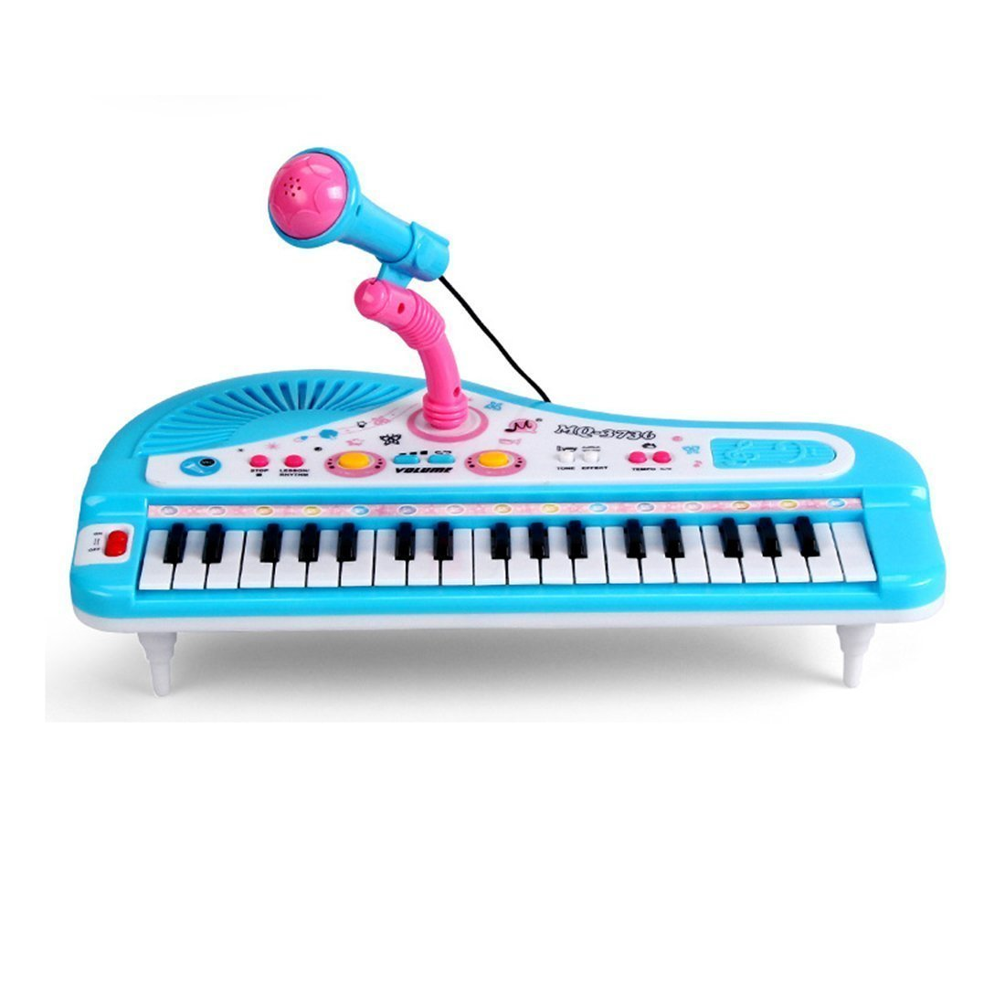37-Key Electronic Keyboard, multifunctional Keyboard Piano Music Set with Microphone Educational Toy for toddlers Kids Children (Blue) SK-0268-FBA