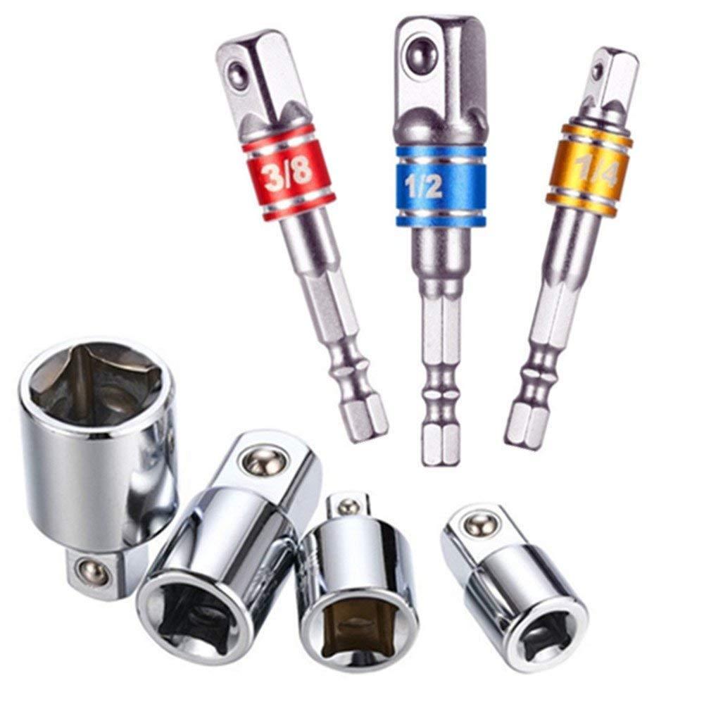Feifox Akkuschrauber Stecknuss Adapter Steckschlü ssel Nuss Set 3-teiliges 1/2 3/8 / 1/4 Zoll + Stecknuss Adapter 4-teiliges 1/4 auf 3/8-3/8 auf 1/4 Zoll - 3/8 auf 1/2-1/2 auf 3/8 (7-teiliges Farbe) Feifoxer