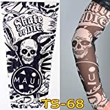 1Pc Unisex Nylon Elastic Temporary Tattoo Sleeve Body Arm Stockings UV Protection Tattoo Arm Sleeves for Men Cover up Stretchable Cosplay Costume Accessories for Men & Women (D)