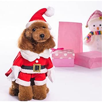 Christmas Dog Costumes.Nacoco Pet Christmas Costumes Dog Suit With Cap Santa Claus Suit Dog Hoodies Cat Xmas Costumes
