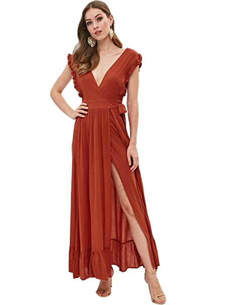 b5e0097bf63a Womens Wrap Maxi Dress Ruffle Split Flowy Cut Out Long Boho Dress W/Plunge  Neck: Amazon.co.uk: Clothing