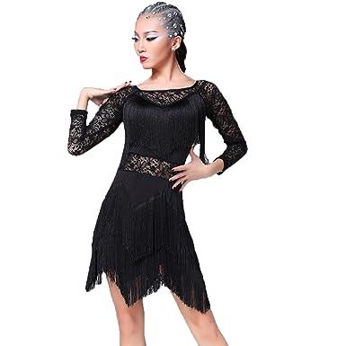 51b31ddf1 YC WELL Women Latin Dance Dress Tassel Rumba Cha Cha Samba Tango Dance  Costumes(Black
