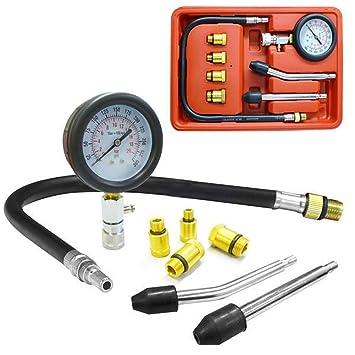 domeiki Cilindro de Motor Kit de prueba de compresión juego profesional Gas comprobador de bujías: Amazon.es: Hogar