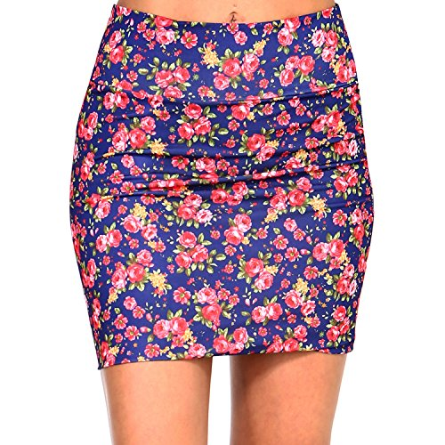 Fashionazzle Women's Casual Stretchy Bodycon Pencil Mini Skirt (X-Large, KS06-#26 Navy) ()