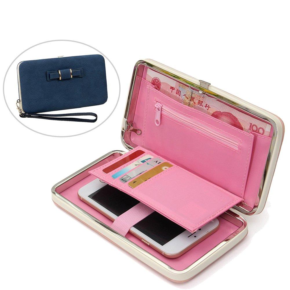 Aeeque® Portefeuille Femme Noir Luxe Bowknot Porte-monnaie Rangement Téléphone en Cuir Souple avec Multi Porte Carte de Credit// Visite// Identité// Photo et La Sangle Détachable Sac a Main pour iPhone 7//7 Plus//6//6S//6 6S Plus//5//5S//SE//5S//4//4S etc NEAEB017107