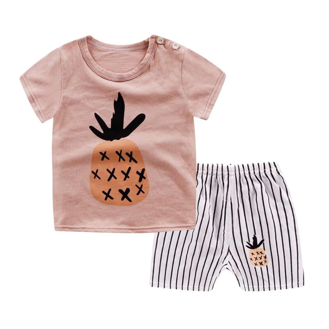 Pigiama Bimba Tutone Leggero 2 Pezzi T Shirt e Pantaloncino Bambino Manica Corta Cotone 100/% Animali Stampa Abbigliamento Estivo Sleepwear Bambini