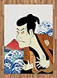 Kabuki Mask Area Rug by Ambesonne, Performer Portrait with Stylized Japanese Waves and Mount Fuji Illustration, Flat Woven Accent Rug for Living Room Bedroom Dining Room, 5.2 x 7.5 FT, Multicolor