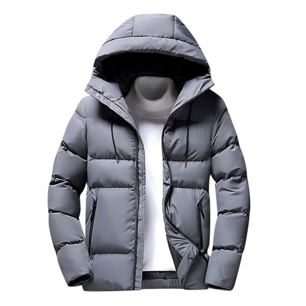 Allywit-Mens Down Parka Coat Thicken Cotton Warm Puffer Jacket with Warm Outwear Overcoat Plus Size Gray by Allywit-Mens