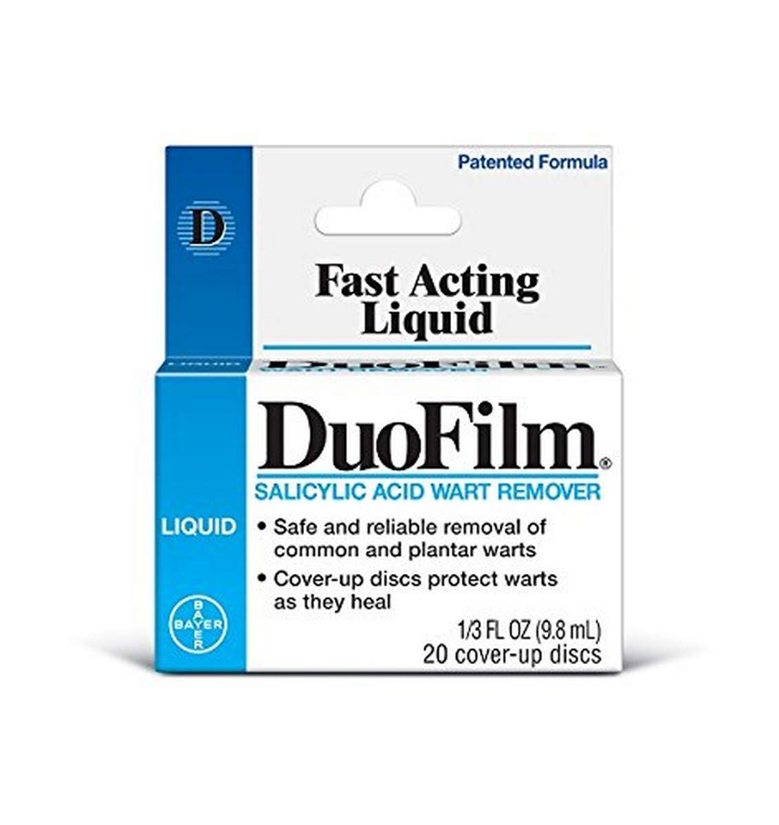 DuoFilm Liquid Wart Remover, 0.33oz // Safe and Reliable Removal of Common and Plantar Warts with Cover-Up Discs to Protect Warts as They Heal