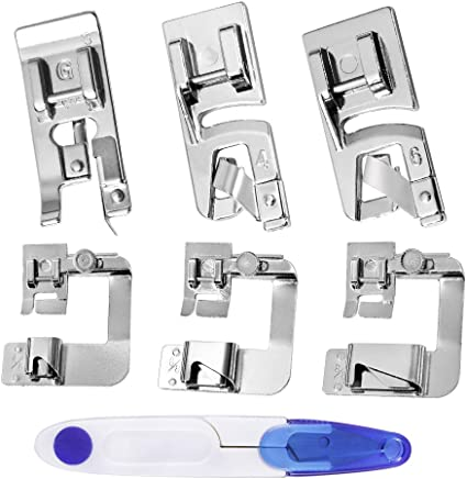 6 Pieces Narrow Rolled Hem Sewing Machine Presser Foot Fits for Most of Household Low Shank Sewing Machines 3 Sizes 3mm, 4mm, 6mm )(Narrow Side)