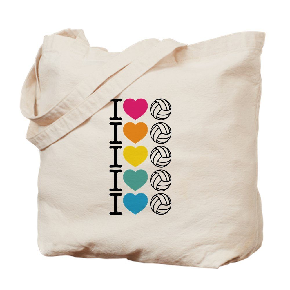 CafePress – I Heartバレーボール – ナチュラルキャンバストートバッグ、布ショッピングバッグ B06Y47YXYL