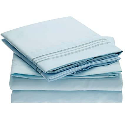c3d45eb015 Amazon.com: Ideal Linens Bed Sheet Set - 1800 Double Brushed Microfiber  Bedding - 4 Piece (Queen, Baby Blue): Home & Kitchen