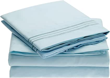 Ideal Linens Bed Sheet Set - 1800 Double Brushed Microfiber Bedding - 4 Piece (Queen, Baby Blue)
