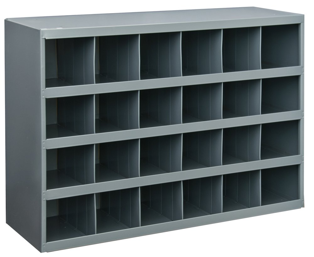 Durham 357-95 Gray Cold Rolled Steel 32 Opening Bin with Slope Self Design, 33-3/4'' Width x 19-1/4'' Height x 12'' Depth