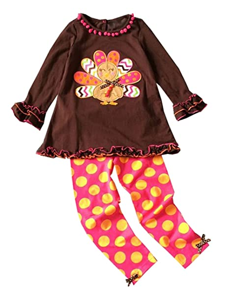 dfce282427123 Infant Baby Girls Thanksgiving Outfits Brown Turkey Dot Pant Set