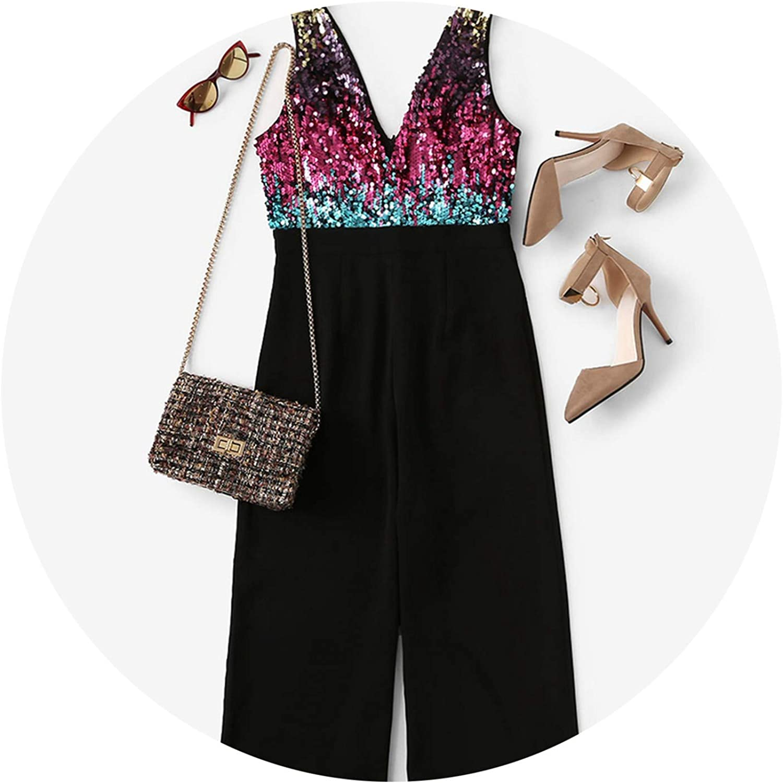 Black Bodice Cr Block Wrap Elegant Sequin 2019 Sleless Office Overalls Fe Jumpsuits